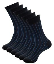 1SOCK2SOCK Men Cotton Dress Socks 6 Pairs Black Ribbed Business Socks Size 10 13