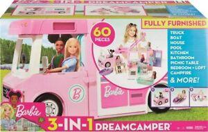 Barbie 3-in-1 Dream Camper Van And Accessories 60 Pieces CamperVan Playset