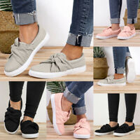 Women Ladies Casual Canvas Shoes Plimsolls Flats Slip On Loafers Sneakers Pumps