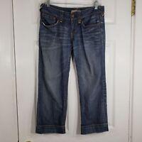 ELIE TAHARI Size 6 Blue Denim Jeans Capri Pants Womens 100% Cotton Low Rise