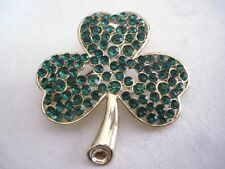 """Clover  Lapel Pin Gold Tone with Green Rhinstones  2""""x2""""  Pin Back with Clasp"""