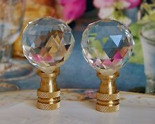 SET OF 2 GLASS CRYSTAL BALL - LAMP SHADE FINIAL, LAMP TOPPERS - 30MM