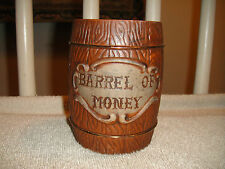 Vintage Barrel Of Money Bank-Ceramic Plaster Bank-Wood Barrel Bank-LOOK!