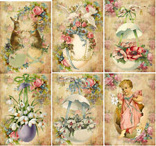 Vintage Easter antique pictures rabbit eggs note cards tags with envelopes