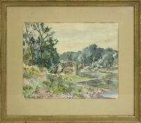 IMPRESSIONIST GEORG PRELLER *1888 »FLUSSLAUF MIT BOOTEN« LEIPZIG DRESDEN 43X49