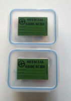 2x Geocache Containers -  Optional Labels, Logbooks, Pencils, Swag - Small