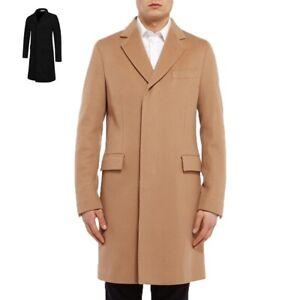 Single Breasted Men Boys Long Wool Blend Jacket Coat Winter Warm Beige Black UK