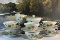 Vintage Summit Fine China Japan 6 Tea Cups & Saucers  Creamer & Sugar Bowl Mint