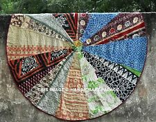 "72"" Round Colorful Kantha Floor Yoga Mat Seating Throw Bed Cover Bohemian Indian"