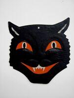 "Vintage ""Halloween"" Black Cat Decoration w/ Orange Eyes & Mouth - Squint Eyes*"
