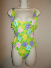 Adrienne Vittadini Womens Size 10 Multi-Color Green Floral Tankini Ties in Back