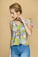 CLP top donna leggero estate maglietta canotta blusa floreale cotone e spalline