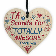 TA Teaching Assistant Thank You Gifts Wooden Heart Plaque Teacher Leaving Gift