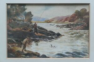 Small Vintage Watercolour. Trout Fishing By Rapids