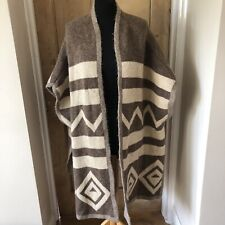 ZARA Knit Brown Beige Aztec Print Blogger Cardigan Cape Poncho Coatigan Size M
