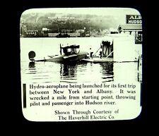 Magic Lantern Slide Hudson Navigation Co. Hydroplane Crash Hudson River NY 1915