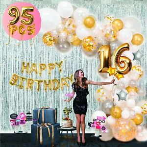 SWEET 16 SIXTEEN PARTY HANGING FLUFFY DECORATIONS 3 PIECES HAPPY BIRTHDAY