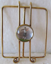 VINTAGE 14 KT GOLD MONEY CLIP WITH REVERSE CRYSTAL GOLFER-BEST I'VE EVER SEEN