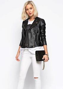 Women's Black Leather Biker Slim-Fit Soft Genuine Lambskin Vintage Short Size XL
