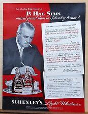 1939 magazine ad for Schenley Whiskey - P.Hal Sims Bridge Expert takes exam