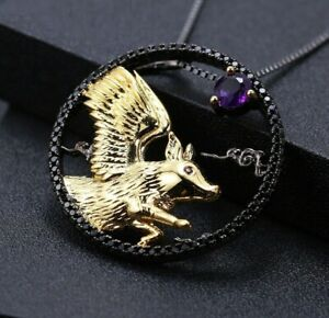 2Ct Round Purple Amethyst Witcher Pendant 14k Two-Tone Gold Over 18'' Free Chain