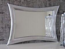 Wandspiegel Silber Groß Holzrahmen115x85  Lederlook Friseur- Flurspiegel groß