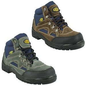 MENS FOX BROWN GREY SUEDE LACE UP ROUND STEEL TOE CAP HIKER SAFETY BOOTS TRUKA