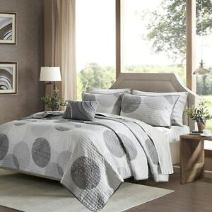 Soft Greys & White Circle Print Coverlet Quilt Set AND Matching Sheet Set