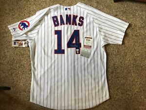 (SSG) ERNIE BANKS Signed Chicago Cubs Authentic Majestic MLB Jersey - JSA COA