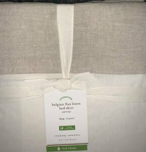 "New~Pottery Barn Belgian Linen Bed Skirt Bedskirt KING~14"" Drop~Natural"