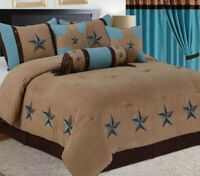 7 Piece Comforter Texas Western Star Bedspread Bedding Luxury Set Queen, King