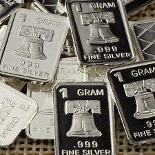 """Liberty Bell"" Design. Lot of 10, 1 gram .999 Fine silver bullion bar. New!"