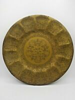 Antique Solid Etched Brass Serving Tray Wall Decor