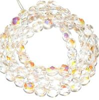 CZ3116 Crystal & Rose AB 6mm Fire-Polished Faceted Round Czech Glass Bead 16""