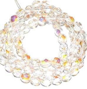 """CZ3116 Crystal & Rose AB 6mm Fire-Polished Faceted Round Czech Glass Bead 16"""""""