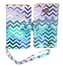 Teal & Purple Chevron Wallet Leather Case for LG Optimus L90 with Kickstand