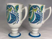 Rare Set Of 2 Royal Crown Blue Abstract by Tina Arnart Smug Mugs 3893 MCM