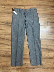 gray herringbone J HILBURN flannel wool trousers pants italian fabric 34/40