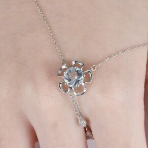0.4ct Round Cut Blue Aquamarine Floral Pendant with Chain 14ct White Gold Over