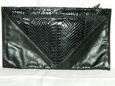 Black Genuine Snakeskin & Calfskin Vintage Clutch by M.F. Maramgi RN45780