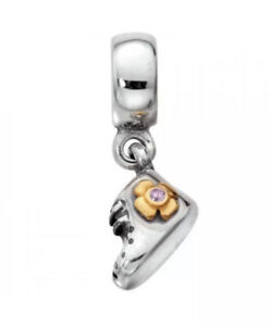Authentic Pandora 790403PCZ 2 Tone Baby Girl Boot Sterling Silver 14K Charm