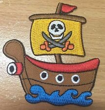 DIY ONE PIECE PIRATE SHIP BOAT IRON ON PATCH EMBROIDERY ADORNING CLOTHE HANDMADE