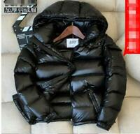 Hot Mens Glossy Down Padded Coat Stand Collar Puffer Hooded Shiny Parka Jackets