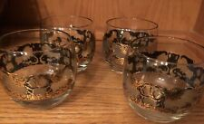 New listing 4 Pc Set Mid Century Modern Culver 22k Gold Rolly Polly Glassware