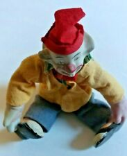 1940s Porcelain Clown Cloth body & Wire Legs For Posing Very Cool Collectible 9""