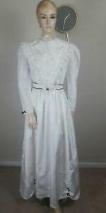 VINTAGE 70S WHITE & BLUE GOTHIC VICTORIAN EDWARDIAN PRAIRIE WEDDING DRESS 10
