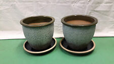 Stylish Quality Ceramic Outdoor Plant Pots & Dishes - Set of 2 Frost Proof Green