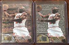 (2)1995-96 Michael Jordan Fleer Metal Card No. 13 Base & Silver Spotlight