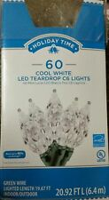 Holiday Time Cool White Led Teardrop C6 Christmas Lights , 60 Count