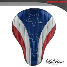 "La Rosa Harley Chopper Bobber Solo Seat - 16"" American Flag Red White & Blue"
